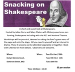 Snacking on Shakespeare - 5 sessions starting #January21st in #BrightonandHove for all those #over50's with a taste for Shakespeare and having the words in your mouth